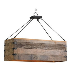 Currey and Co - Currey and Company Billycart Chandelier - Antique inspiration furnishes this rough luxe design with authenticity and style. Gorgeous Natural aged wood is pieced together with riveted wrought iron hardware, giving the Billycart Chandelier a wonderful farmhouse aesthetic.