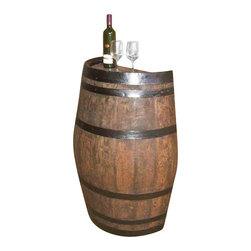 "Master Garden Products - Oak wood Split Wine Barrel Stand, Gloss Lacquer Finished, 26""W x 35""L x 13""H - This unique wall barrel piece is made from a genuine reclaimed used oak wood barrel. The slender split cut barrel is for decorative purposes and is excellent for bars, restaurants, or POP promotional showcases."