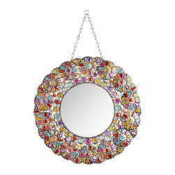 Beaded Round Mirror - Mirrors are a great way to add depth to an entryway and make it appear bigger. If you have a small space, add a mirror. Plus, you can check your teeth before you leave the house.