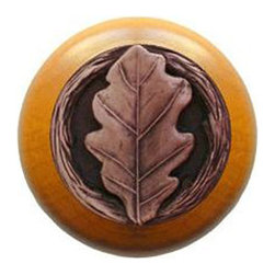 """Notting Hill - Notting Hill Oak Leaf/Maple Wood Knob - Antique Copper - Notting Hill Decorative Hardware creates distinctive, high-end decorative cabinet hardware. Our cabinet knobs and handles are hand-cast of solid fine pewter and bronze with a variety of finishes. Notting Hill's decorative kitchen hardware features classic designs with exceptional detail and craftsmanship. Our collections offer decorative knobs, pulls, bin pulls, hinge plates, cabinet backplates, and appliance pulls. Dimensions: 1-1/2"""" diameter"""