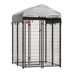 "Jewett-Cameron Companies - Lucky Dog ""Uptown"" Boxed Kenne with Cover, 4'L x 4'W x 6'H - The Uptown Dog kennel is a high quality and safe enclosure for your pet. NO sharp edges, designed for safety and strength. 6' height allows you to stand while cleaning or refreshening water and food. A very sturdy, safe and economical kennel solution for smaller yards, decks and patios."
