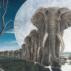 """Robert Bissell - """"The Mission"""" 2012 Fine Art Original Oil Painting - """"The Inspiration for this work came from a recent study by Stanford University that showed in times of stress, such as a drought, male (bull) elephants will develop a strict hierarchy when looking for water and will follow a leader to a watering hole. Yet, when the stress period is over the hierarchy collapses. Perhaps, sometimes we have to get organized to get things done!"""""""