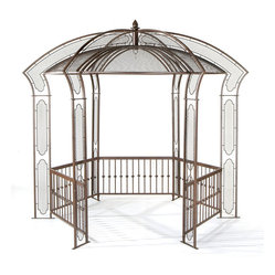 H Potter - Parisian Gazebo - This stylish gazebo allows you to incorporate carefree leisure into your outdoor space. It features a carousel-inspired design, latticework along the top and sides, and plenty of room inside to just relax.