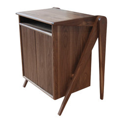 New Breed - New Breed Credenza - This little walnut wonder will make you think twice about storage. Great for your office, entryway or bedside, it features sculptural scissor legs, an open top cubby, and a two-door cabinet ready to hold everything from copy paper to night creams.