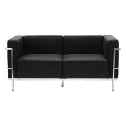 Modway - Modway EEI-566 Charles Grande Loveseat in Black - Urban life has always a quandary for designers. While the torrent of external stimuli surrounds, the designer is vested with the task of introducing calm to the scene. From out of the surging wave of progress, the most talented can fashion a forcefield of tranquility.