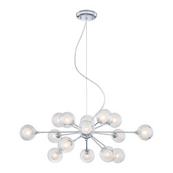 """Possini Euro Design - Contemporary Possini Euro Design Glass Orbs 15-Light Pendant Chandelier - Have a little fun with your decor. This celestial pendant chandelier features 15 opal glass orbs within larger clear glass orbs on metal rods. Reminiscent of a solar system these glass balls seem to be orbiting around one central chrome finish anchor. A beautiful addition to a modern or eclectic home this piece will liven up any dining room. From the Possini Euro Design collection. Chrome finish. 4"""" diameter clear borosilicate and opal glass. Includes fifteen 25 watt G9 halogen bulbs. Fixture measures 30"""" wide by 13"""" high. Includes nine feet of adjustable support cable. Canopy is 5 1/4"""" wide.  Chrome finish.   4"""" diameter clear borosilicate and opal glass.   From the Possini Euro Design collection.  Includes fifteen 25 watt G9 halogen bulbs.   30"""" wide.   13"""" high.  Canopy is 5 1/4"""" wide.   Includes nine feet of adjustable support cable."""