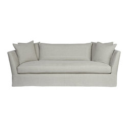 "Kathy Kuo Home - Seda Light Gray Linen Coastal Style Feather Down Slip Cover Sofa - 100"" - The breezy attitude which works so perfectly in Coastal Style interiors is gorgeously embodied in this sofa.  Wide, welcoming arms invite you to curl up with a book, while the kick pleat bottom keeps things stylish and tailored.  Upholstered in  linen,  this chair can also be covered in whatever fabric you choose. The possibilities are endless and the guarantee on the frame is for life.  Includes: four (4) x 26 x 26; two (2) x 22 x 22; one (1) x 54 x 20 x 3 loose feather down back cushions included.  Slipcover can be removed for cleaning- dry clean only."