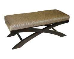 4D Concepts - 4D Concepts Go Go X Bench in Metallic Woven Linen w/ Espresso Legs - This nicely crafted bench add style to any room in the home.  The X style legs are made of solid wood and finished in an espresso finish.  The metallic woven animal print gives this item the designer look.  Clean with a dry non abrasive cloth.