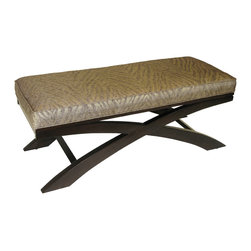 4D Concepts - 4D Concepts Go Go X Bench in Metallic Woven Linen with Espresso Legs - This nicely crafted bench add style to any room in the home. The X style legs are made of solid wood and finished in an espresso finish. The metallic woven animal print gives this item the designer look. Clean with a dry non abrasive cloth.