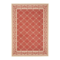 "Safavieh - Courtyard Red/Brown Area Rug CY1502-3707 - 2' x 3'7"" - Safavieh takes classic beauty outside of the home with the launch of their Courtyard Collection. Made in Belgium with enhanced polypropylene for extra durability, these rugs are suitable for anywhere inside or outside of the house. To achieve more intricate and elaborate details in the designs, Safavieh used a specially-developed sisal weave."