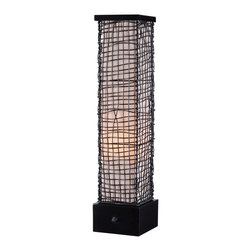 Kenroy - Kenroy KR-32249BRZ Trellis Outdoor Table Lamp - Surrounded by an artfully woven outer mesh of wire is a glowing, luminous monolith.  Trellis celebrates texture and form and is weather safe and durable.