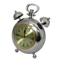 "ecWorld - Captain Ship's Time 12.5"" Polished Nickel Metal Table Clock - This vintage-inspired design is compact yet elegant, perfect for adding style to your table, mantle, office or study. The polished finish and rustic-inspired face will compliment classic and traditional decor styles alike."