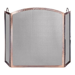 Uniflame - Uniflame S-1307 3 Panel Antique Copper Screen w/ Arched Center Panel - 3 Panel Antique Copper Screen w/ Arched Center Panel belongs to Fireplace Accessories Collection by Uniflame