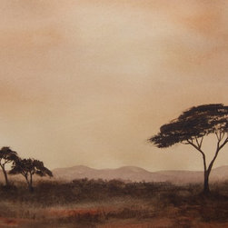 Savannah Dawn Artwork - Inspired by the vast African Savannah with it's flat scrub land dotted with Acacia trees that are indigenous to the area. I love painting atmospheric watercolors. Comes with a white mat ready for framing in a standard frame.
