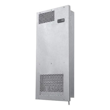 Vinotemp - 38 in. Wine Cellar Cooling System - Wall-mounted design. Silver color. Coverage size: 150 cu. ft. or approximately 800 bottles. Includes outdoor enclosure. Assembly required. Custom made: 2 to 3 weeks lead time. Can be installed between two wall studs. Ideal choice for small and medium wine rooms. Ideal for commercial or home use. Split system wine cooling unit. Fan coil specs: 115V/60Hz, 0.35A, 26 lbs.. Fan coil: 16 in. W x 5.5 in. D x 38 in. H. Condensing unit specs: 115V/60Hz, 3.1A, 30 lbs.. Condensing unit: 19 in. W x 12 in. D x 14 in. H. Warranty