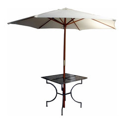 Pangaea Home and Garden - Iron Square Patio Table w 3 in. Umbrella Hole in Black - Includes four sets of nuts and bolts. Umbrella not included. Easily portable. Table has a 3 in. hole in the center to accommodate umbrella poles. Space saving off-season storage. Powder-coated for year round weather resistance. Enhances both small balconies and large patios/yards. Applicable for both indoor and outdoor use. Environment friendly. Made from recycled wrought iron. Minimal assembly required. 33 in. L x 33 in. W x 27 in. H