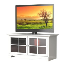 Nexera - Nexera Pinnacle, 49'' TV Stand, White - Pinnacle 49-inches TV Stand in white textured lacquer and melamine finish features 2 adjustable shelves behind 2 doors with metal handles, ideal to store your electronic devices away from dust and organize all your DVDs, accessories, etc. Pair this Pinnacle TV Stand with matching Audio Tower for a complete entertainment set. The Pinnacle Collection from Nexera offers a wide selection of TV stands and audio towers of different finishes and designs so you can organise your entertainment area in style and simplicity.