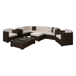 International Home Miami - Atlantic Southampton Sectional 9-Piece Patio Set in Off-White - Great quality, stylish design patio sets, made entirely of high quality resin. No metal parts. I won't rust. Polyester cushion with water repellant treatment. Enjoy your patio with elegance all year round with the wonderful Atlantic outdoor collection.