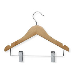 Honey Can Do - 10 Pack Kid's Basic Hanger w Clips, Maple Fin - Curved wood, non-slip bar. 9 in. x 12 in.