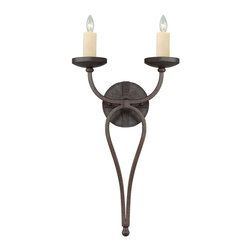 Savoy House Lighting - Savoy House 9-2015-2-05 Elba 2 Light Wall Sconces, Oiled Copper - Oversized candle sleeves and long, clean lines, and a chunky riveted detail all finished in Oiled Copper add to the authenticity of this forged iron piece.