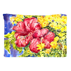 Caroline's Treasures - Flower - Hibiscus Fabric Standard Pillowcase Moisture Wicking Material - Standard White on back with artwork on the front of the pillowcase, 20.5 in w x 30 in. Nice jersy knit Moisture wicking material that wicks the moisture away from the head like a sports fabric (similar to Nike or Under Armour), breathable performance fabric makes for a nice sleeping experience and shows quality.  Wash cold and dry medium.  Fabric even gets softer as you wash it.  No ironing required.