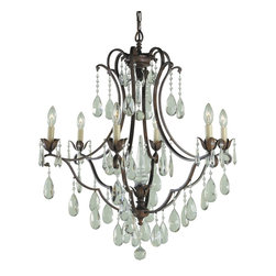 Murray Feiss - Murray Feiss Maison de Ville Traditional Chandelier X-BRB6/3881F - Romantic styling and European grace add interest to this Murray Feiss chandelier. From the Maison de Ville Collection, it features cascading crystal accents and six candelabra style lights for added visual interest. The look is completed with a rich British Bronze finish that highlights the romantic lines and details.