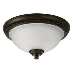 """Progress Lighting - Progress Lighting P3478-20 Pavilion 12"""" Single-Light Flush Mount Ceiling Fixture - One light flush mount with etched watermark glass. An eclectic blend of modern and traditional values. Twisted wire details and wound bands add visual drama in Antique Bronze finish."""