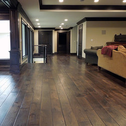 """Private Residences - Victorian™ Collection 7-1/4"""" European French Oak hardwood floor, hand scraped, hand beveled, hand distressed, dyed and stained in custom Vanee Walnut clolor, triple hardwaxed"""