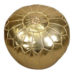 Metallic Gold Moroccan Leather Pouf - Poufs have always been one of my favorite accessories. This metallic gold one will add a touch of glamour to any room. Use it as a piece of furniture or place a tray over it for an instant accent table.