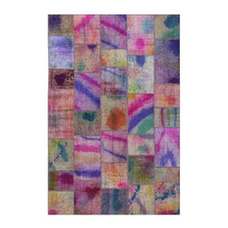 """Pre-owned Lilac Multi Handpainted Turkish Patchwork Carpet - Splashes of hand painted bright color on vintage pieces mix to make this hand woven, naturally distressed vintage rug. Full cotton backing and decorative blanket stitch edging.    Remnants of vintage wool on a cotton warp, made entirely by hand in the '60's through '80's when Turkish women still included weaving in their daily homemaking chores. Employing the sturdy double knot technique unique to Turkish rugs, multicolor floral and medallion motifs were created a row at a time using bright hand dyed wools. Considered too old fashioned for modern Turkish homes in their traditional incarnations, these rugs have languished in back rooms of the bazaars‰Ű_until now, as these fragments in excellent condition are overdyed and combined to create modern patchwork statements for the floor.    Note from the seller: """"Our revitalization process keeps rugs that may otherwise get tossed out of landfill. Repurposed discards are helping artisans connect and create, supporting the community we're building here in Istanbul to revive vanishing traditional fiber crafts.‰Űť    Please note that all sales are final - These amazing rugs are coming direct from Istanbul, Turkey and returns will not be allowed."""