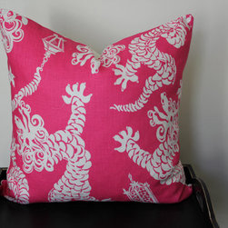 Tail Lights, Daiquiri Lilly Pulitzer for Lee Jofa Cushion Cover by Aurelia - This Lilly Pulitzer fabric Tail Lights is a favorite of mine with its Chinese dragon. I especially like this hot pink and white colorway — imagine it on a white sofa.