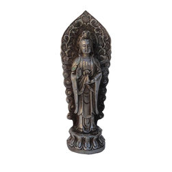 Golden Lotus - Chinese Hand Made Silver Color Standing Kwan Yin Metal Statue - You are looking at a small but elegant Kwan Yin Statue. It is made of metal and has very detailed carving.