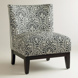 World Market - Black and White Darby Chair - Featuring an eclectic Moroccan-inspired print on the front and coordinating stripes on the back, our Black and White Darby Chair is on-trend with its mix of patterns. Boasting a luxuriously deep seat, this stylish slipper chair makes a chic addition to your living decor.