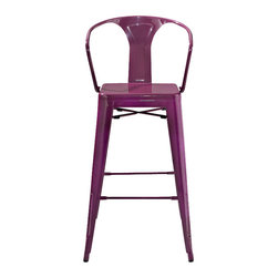 Crosley Furniture - Amelia Metal Cafe Barstool with Back in Purpl - Includes (2) Stools. Sturdy Steel Construction. Easy To Assemble. UV Resistant. Stackable. . Powdercoated Finish. 20 in. W x 23 in. D x 44 in. H