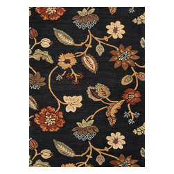 Jaipur Rugs - Transitional Floral Pattern Gray /Black Wool/Silk Tufted Rug - BL11, 2x3 - Transform your room into an enchanting garden with this hand-tufted wool and silk rug. The vibrant flowers and leaves are raised, which makes them really come alive. This exquisite rug is available in multiple sizes to suit your specific needs.