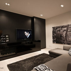 modern media room by Element Design Build Inc.
