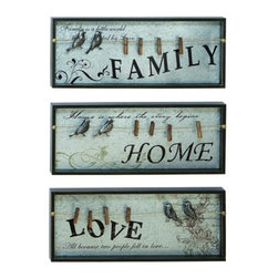 BZBZ69270 - Inspirational Wall Plaque with Photo Clips - Inspirational Wall Plaque with Photo Clips. Why not let your memories shine on the very walls of your sanctuary, with these stylish and inspirational words? Made with baby blue aged wood inset with various messages of the important things in life, like family, love and a loving home. And each plaque features convenient clothes pin style clips, perfect for hanging family photos of reminder notes.