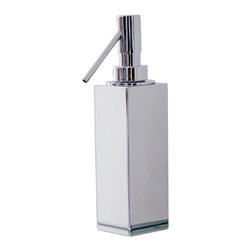 WS Bath Collections - Metric Freestanding Soap Dispenser in Brushed - Made in Spain. Product Material: Brushed Stainless Steel. Finish/Color: Polished Chrome. Dimensions: 2 in. W x 2 in. L x 7.9 in. H
