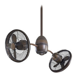 """Minka Aire - 36"""" Minka Aire Gyrette Restoration Bronze Ceiling Fan - The fantastic Gyrette ceiling fan from Minka Aire is two fans in one. This distinctive design from Minka Aire features Restoration Bronze finish housing, blades and cages, and two individual fan heads which gently rotate 360 degrees at 3 RPMs. The flexible arms let you adjust the each individual high performance fan head to maximize air circulation throughout your room. Comes with a hand-held remote control."""