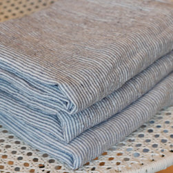 French Linen Striped Pillowcase - Nothing says a summer cabin or cottage like blue ticking stripes. These pillow cases in soft French linen are the perfect touch for any summer bed.