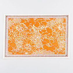 Persimmon Balinese Dot Placemats - I wish the orange floral print on these place mats came in wallpaper form because I'd take it to the walls of my powder room. For now, these punchy place mats will do, especially for weekend breakfasts on my back-porch patio set.