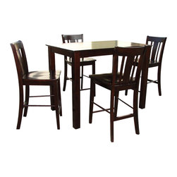 International Concepts - International Concepts 5 Piece Counter Height Pub Set in Rich Mocha - International Concepts - Dining Sets - K153048S1024