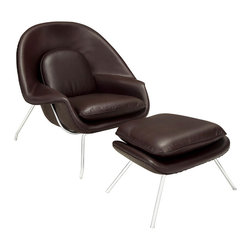"""Modway - W Lounge Chair in Dark Brown - Concerted efforts run deep in the expansively designed W Chair. First intended as a chair you """"can curl up in"""" it has since become a symbol for organic living. The natural motif portrays growth amidst silent resolve. Perhaps this is what makes the Womb both a reception and a lounge chair. Each of us would like to find our place as it were. Whether this means feeling welcomed in by the reception halls of businesses, or feeling welcome to relax into our own homes. While mid-century modernism showed us how to embark into the age of discovery, this finely upholstered classic taught us how to contemplate upon it. The shell of the W chair is made of molded fiberglass with foam padding. The legs are stainless steel and come with foot caps to prevent scratching on floors. Set Includes: One - Matching Ottoman. One - W Lounge Chair. Upholstered in Fine Leather; Stainless Steel Frame; Reinforced Fiberglass Shell; Chair Dimensions: 38""""L x 38.5""""W x 35""""H; Ottoman Dimensions: 22""""L x 25""""W x 18""""H; Seat Height: 16.5 - 17""""H; Armrest Height: 22""""H; Overall Product Dimensions: 60""""L x 38.5""""W x 35""""H."""