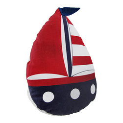 Zeckos - Fabric Sailboat with Red Sail and Blue Flag Doorstop 10 In. - Ahoy This sailboat doorstop adds a decorative, yet practical accent to any room. Made of 80% polyester, 20% sand, it measures 10 inches tall, 7 1/2 inches long, and 3 1/2 inches wide. Recommended care instructions are to spot clean, only. This doorstop adds a finishing touch to rooms with nautical or beach decor, and it is sure to be admired.