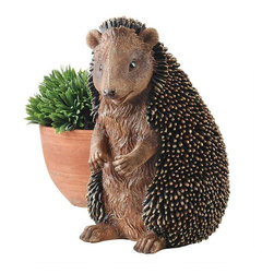 "EttansPalace - 11"" Spiny African Wildlife Hedgehog Home Garden Desktop Statue Sculpture - Our adorable, garden animal is right at home showcasing his individually-sculpted quills from a manicured flower bed or near a favorite indoor potted plant! From his pudgy tummy to his pert ears, our hedgehog sculpture is cast in quality designer resin and hand-painted in natural hues one piece at a time."