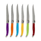 French Home - French Home 6-piece Multi-colored Handles Laguiole Style Steak Knives Set - Decorate your dinner setting with this attractive six-piece Laguiole style steak knife set featuring multi-colored handles,and packed in a Claude LeBrun gift and storage box. This beautiful set highlights a stainless steel construction.
