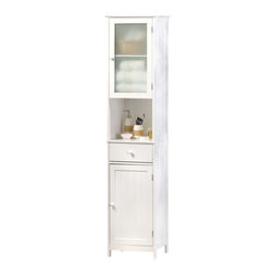 Koolekoo - Lakeside Tall Storage Cabinet - Here's the perfect solution to your storage problems! This tall cabinet doesnt take up much space and fits perfectly in narrow bathrooms, hallways, kitchens, and beyond. With two doors, a drawer, and an open shelf, you can store, display and organize quickly and easily!
