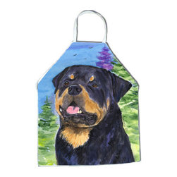 Caroline's Treasures - Rottweiler Apron SS1026APRON - Apron, Bib Style, 27 in H x 31 in W; 100 percent  Ultra Spun Poly, White, braided nylon tie straps, sewn cloth neckband. These bib style aprons are not just for cooking - they are also great for cleaning, gardening, art projects, and other activities, too!