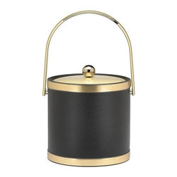 Kraftware - Sophisticates Ice Bucket in Black w Bands and Metal Cover - Features track handle and metal cover. 3 quart ice bucket. Made in USA. 9 in. Dia. x 9.in. H (3 lbs.)Classic Black Leatherette Elegance. Always as appropriate as a formal tuxedo at a reception. You can't go wrong with Sophisticates.