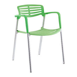 "LexMod - Fleet Stacking Chair in Green - Fleet Stacking Chair in Green - Bring versatility to your meetings and events with a sturdy chair that fits all occasions. The Fleet stacking chair is made of stainless steel with a fashionable hard plastic seat and arm covering. The design is sleek and compact while providing the seating room necessary to accommodate your guests comfortably. Fleet stacks for easy storage. Set Includes: One - Fleet Metal Stacking Meeting Chair Sleek meeting or event chair, Sturdy chrome metal construction, Hard plastic seat and arm coating, Fully stackable, Comes fully assembled Overall Product Dimensions: 22.5""L x 22""W x 31""H Seat Height: 22.5""L x 22""W x 18""H Armrest Height: 27.5""H - Mid Century Modern Furniture."